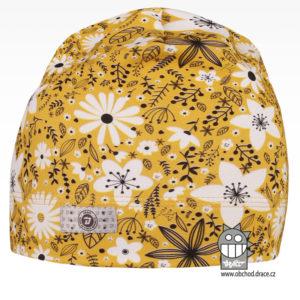 Bavlněná celopotištěná čepice - vzor 01 - žlutá