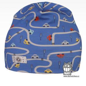 Bavlněná celopotištěná čepice - vzor 02 - modrá