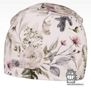 Bavlněná celopotištěná čepice - vzor 03 - bílá