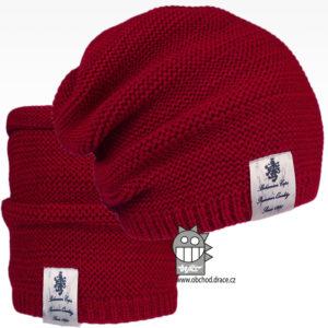 Čepice pletená a nákrčník Colors set - vzor 29 - bordó