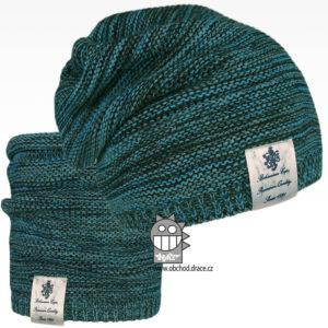 Čepice pletená a nákrčník Colors set - vzor 30 - tyrkysová melír